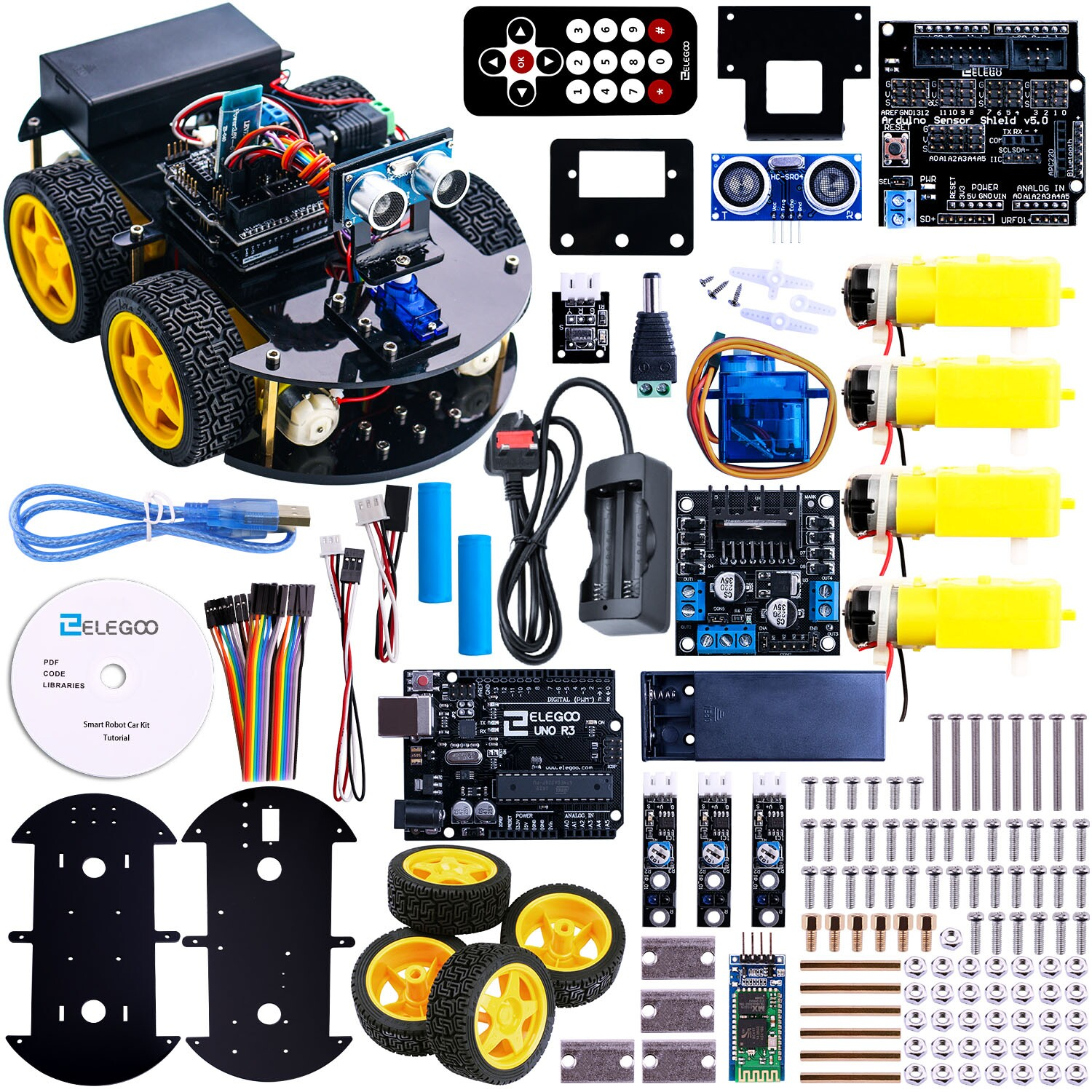 Arduino UNO R3 Project Smart Robot Car Kit with Ultrasonic Sensor Bluetooth module ect Educational Toy