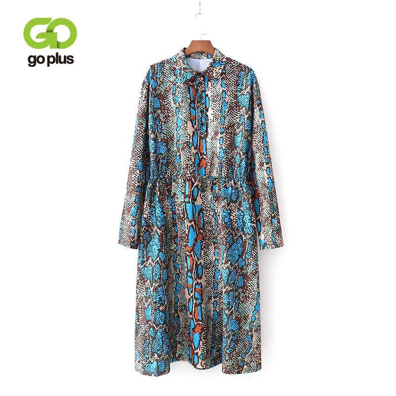 558a9ae5a GOPLUS European Style Women Snake Printed Shirt Dress Female Turn-down  Collar Long Sleeve Plus