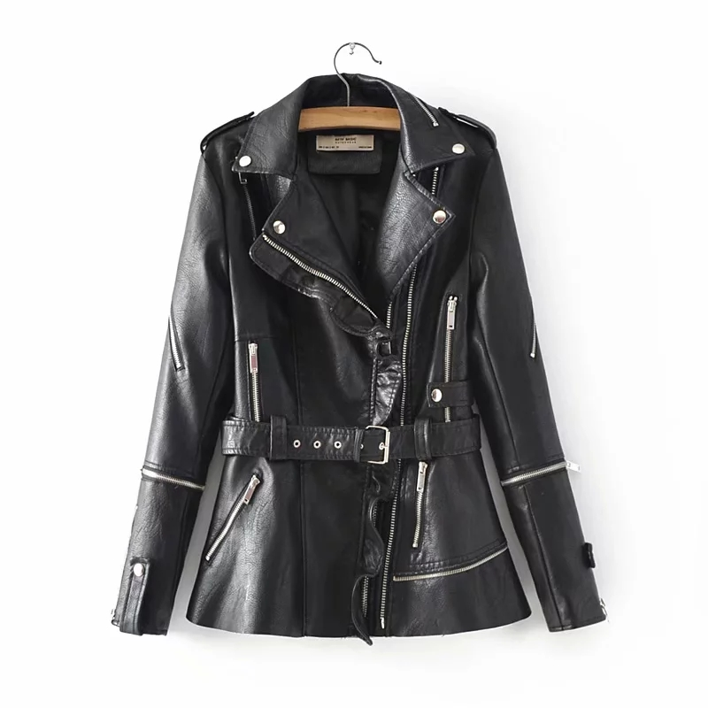Ruffles Collar Jackets Women PU   Leather   Black Coats Slim Ladies Cool Outerwear with Sashes Pockets Chic Girls Outfits Clothes