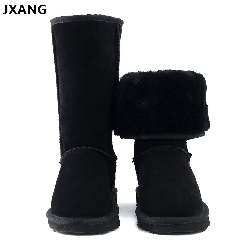 JXANG High Quality UG Fur Snow Boots Women Fashion Genuine Leather Australia Women's High Boot Winter Women Shoes large Size goncale high quality band snow boots women fashion genuine leather women s winter boot with black red brown ug womens boots