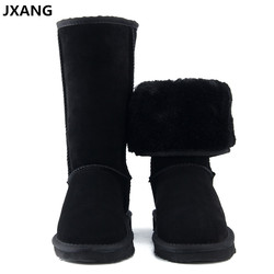 JXANG High Quality UG Fur Snow Boots Women Fashion Genuine Leather Australia Women's High Boot Winter Women Shoes large Size