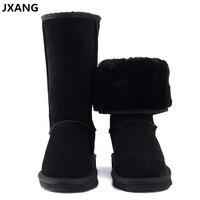 JXANG High Quality UG Fur Snow Boots Women Fashion Genuine Leather Australia Women S High Boot