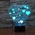 USB carga Toque 3D CONDUZIU A Lâmpada Forma Do Coração Do Amor Romântico Férias colorido lâmpada de mesa Luz CONDUZIDA Da Noite Eu TE AMO Mel IY803387