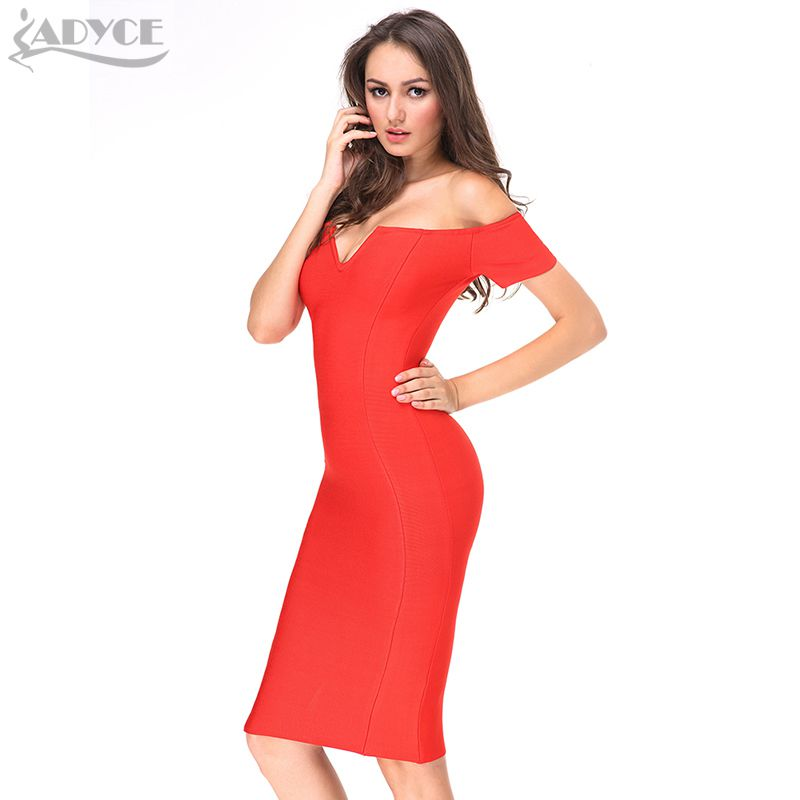 a6527cca74b9 2017 Spring dress Women Party Bodycon Bandage Dress short sleeve off  shoulder V neck celebrity runway Red midi dress wholesale-in Dresses from  Women s ...