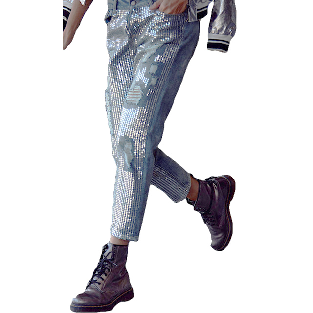 New Fashion Vintage Loose Ripped Sequins Jeans Women Hollow Out Sequined Embroidered Metal Sheets Straight Nine points Pants