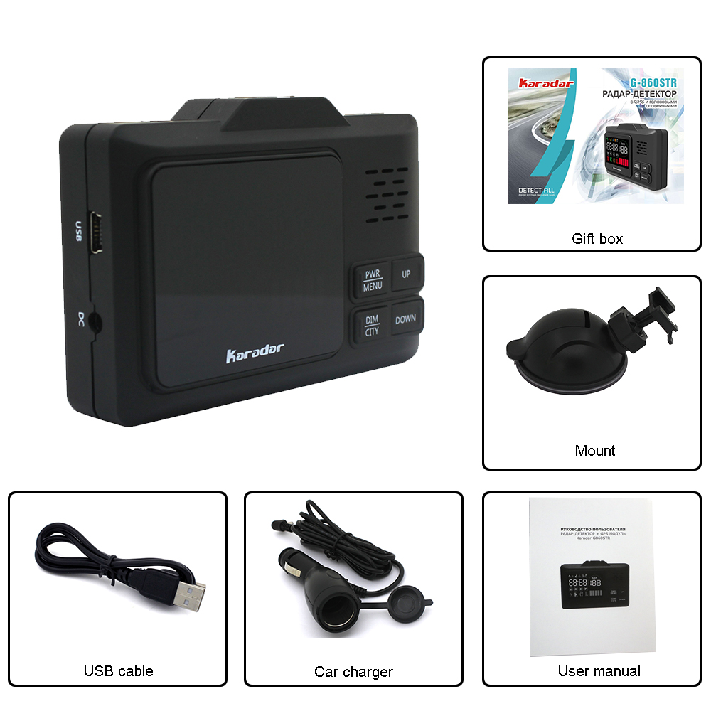 2018 karadar Nova tecnologia G-860 fino GPS radar Car anti radar detector de laser com 2.4 polegada display X K L CT Instalar os dados de GPS