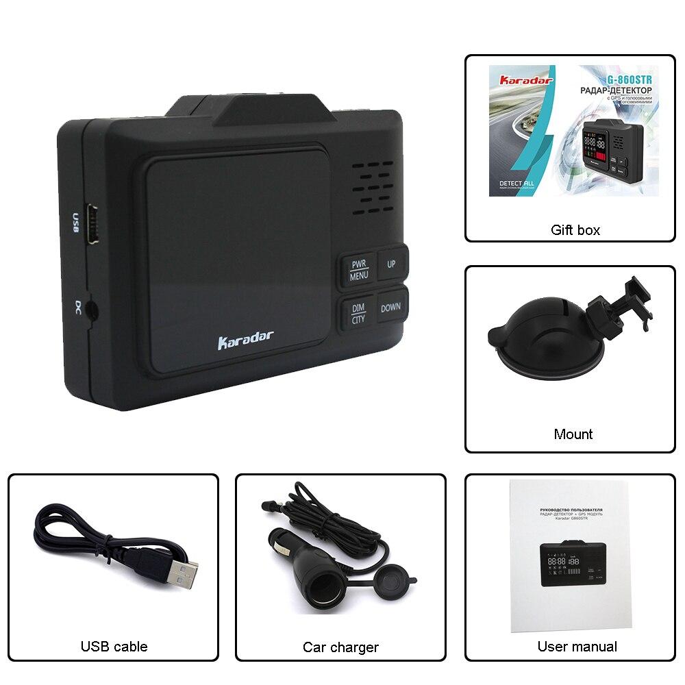 2018 karadar Nouvelle technologie mince radar GPS Voiture anti radar laser détecteur G-860 avec 2.4 pouces d'affichage X K L CT Installer GPS données