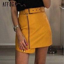 81b4097f69b Affogatoo Высокая талия створки из искусственной кожи юбки женские молнии  желтый короткие юбки для женщин 2018 зима уличная Мини..
