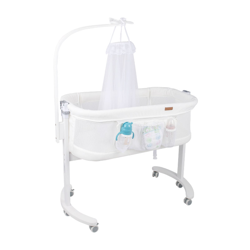 Pasgeboren Wieg Massief Houten Nachtkastje Multifunctionele Draagbare Baby Bed Met Klamboe Baby Bed Stiksels Bed