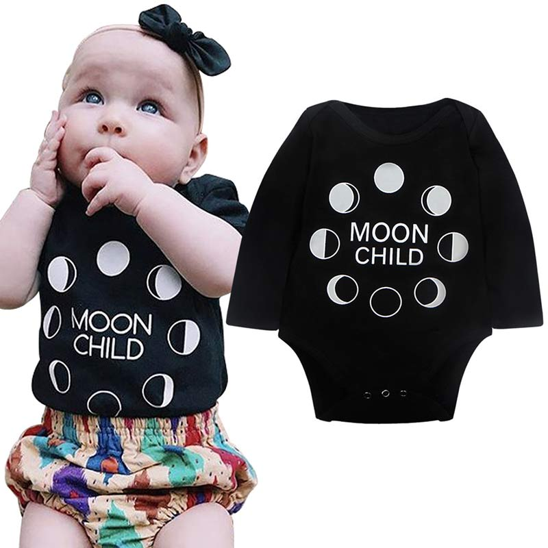 Cotton Toddler Infant Baby Boys Girls Long Sleeve Romper Cute Moon&Letters Print Jumpsuit Clothes Outfits 0-18Months @ S