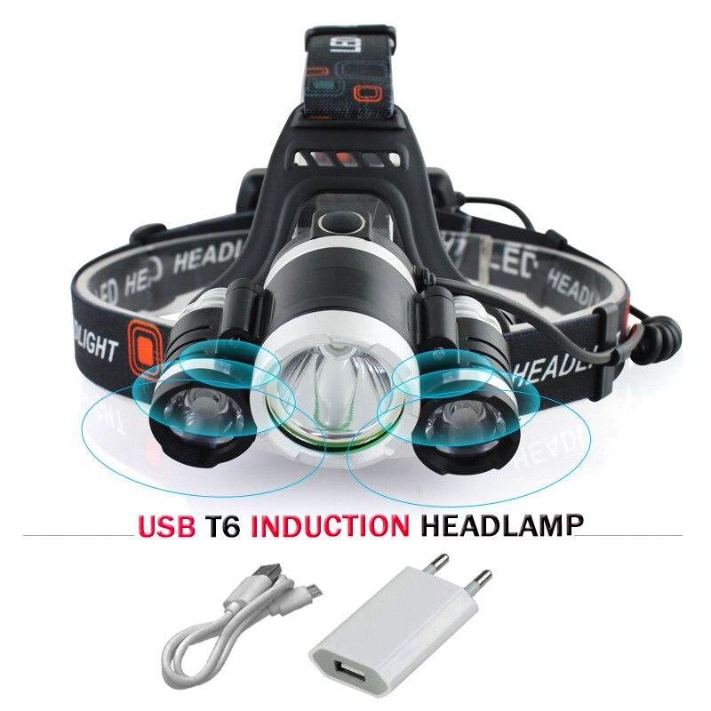 IR Capteur Induction projecteur cree xml 3t6 USB led phare lampe de poche lampe frontale 18650 batterie mines de pêche tête lampe hoofdlamp