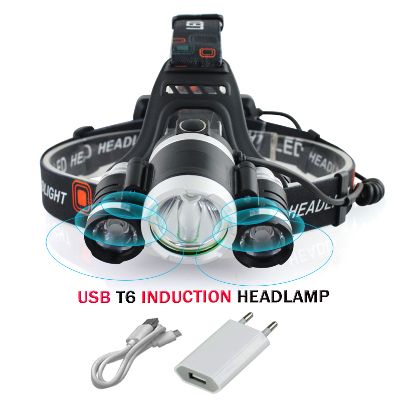 IR Sensor Induction headlamp cree xml 3t6 USB <font><b>led</b></font> headlight flashlight headtorch 18650battery fishing mining head lamp hoofdlamp