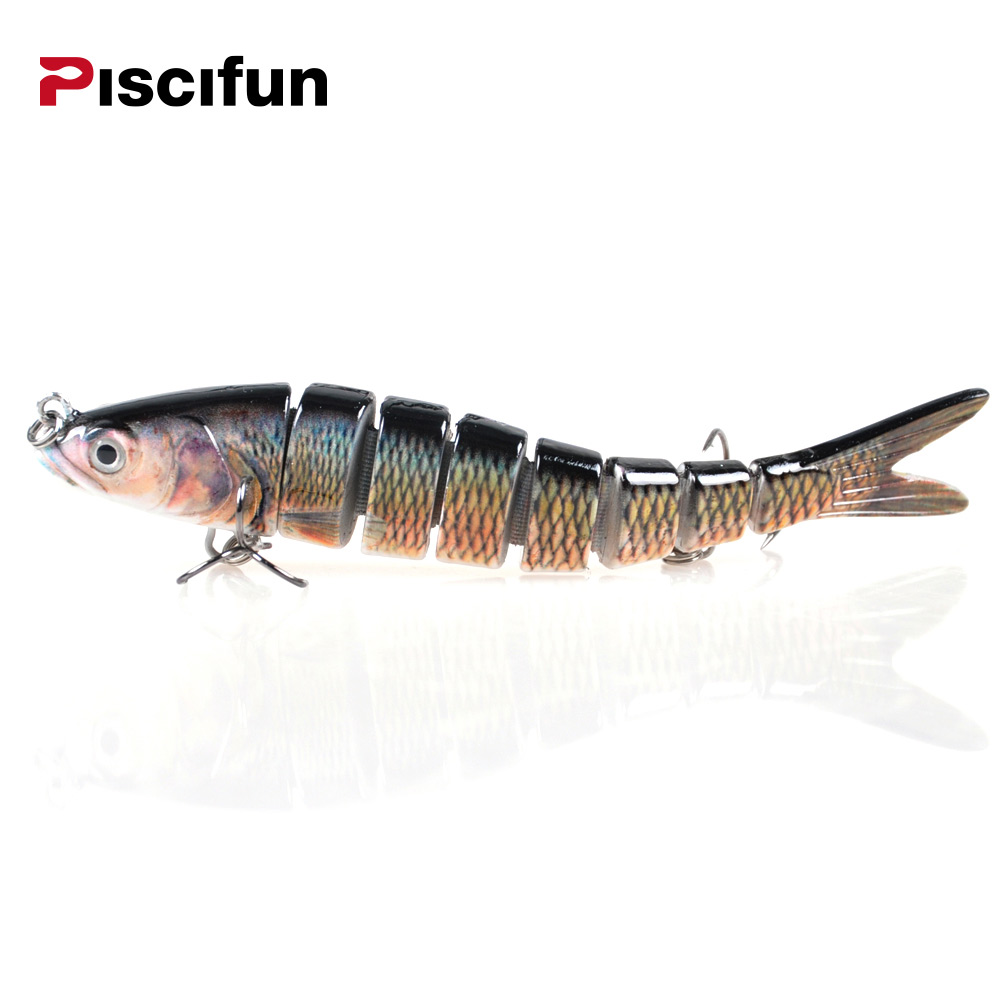 цена на Piscifun Hard Fishing Lure 14CM 27g Multi Jointed 3D Eyes Lure 8-Segment Hard Lure Crankbait With 2 Hook Fishing Baits