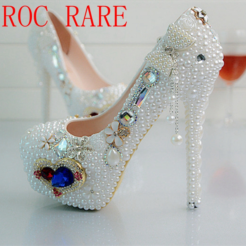 Bling 14CM Heel White Pearl Bowtie Women Wedding shoes Bride High Woman Party Dress Shoes Luxury Female Shoes High Pumps 02 pure white pearl wedding dress shoes gorgeous red rhinestone heart shape women pumps 3 inches high heel bride shoes event pumps