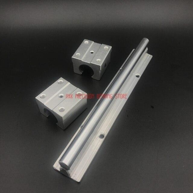 CNC Routeur Pièces AXK 2 pièces Sbr10 L 200mm Rail Linéaire Support Avec 4 pièces Sbr10uu Guide En Aluminium Roulement Bloc Coulissant CNC Pièces
