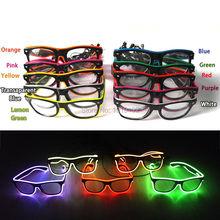 wireless el glasses El Wire Fashion Neon LED Light Up Shutter Shaped Glow Glasses Rave Costume Party DJ Bright SunGlasses
