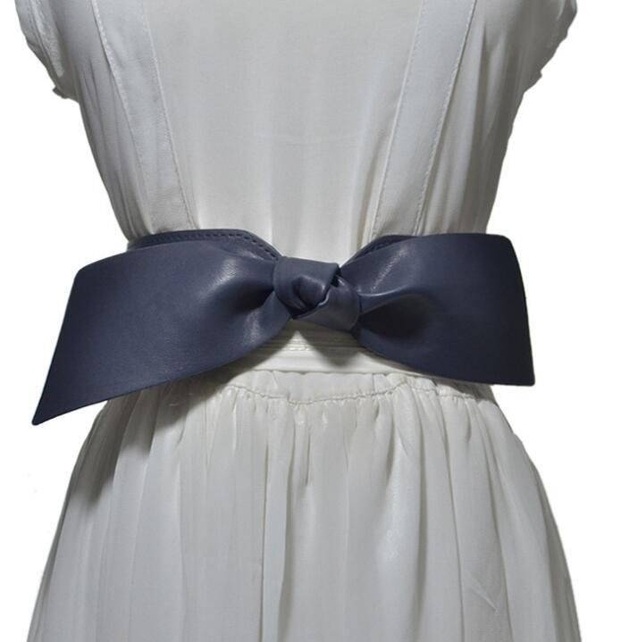 Women's Runway Fashion PU Leather Elastic Bow Cummerbunds Female Dress Corsets Waistband Belts Decoration Wide Belt R1475