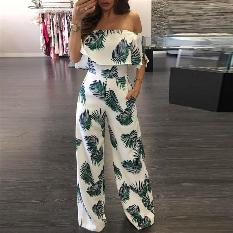 Women Summer Jumpsuit Fashion Short Sleeve Off One Shoulder Floral Print Playsuit Long Pants Casual Rompers Jumpsuit F#L20 (1)