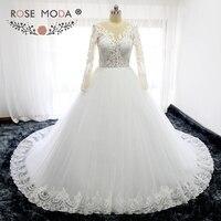 Роза Moda с высокой горловиной одежда с длинным рукавом принцессы Свадебное платье с мячом юбка Иллюзия кружевной топ Пышное Бальное платье с