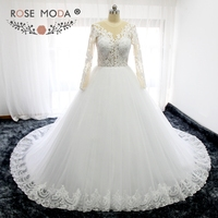 Rose Moda Cao Cổ Dài Tay Áo Công Chúa Wedding Dress với Bóng Váy Illusion Ren Top Puffy Bóng Gown với Ren
