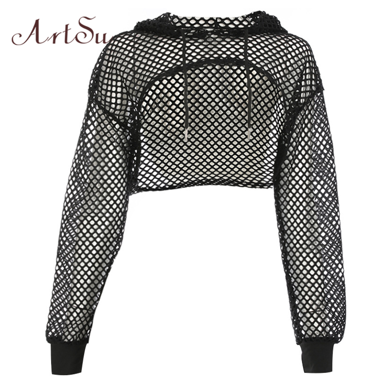 ArtSu Long Sleeve Tshirt Women Mesh Top Hooded Hollow Out Sexy Punk Rock Short Crop Top White T-shirt Fishnet Black ASTS20380