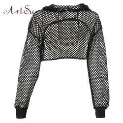 ArtSu Long Sleeve Tshirt Women Mesh Top Hooded Hollow Out Sexy Punk Rock Short Crop Top White T-shirt Fishnet Black ASTS20380 1