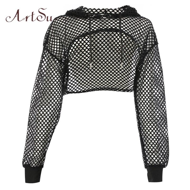 ArtSu Long Sleeve Tshirt Women Mesh Top Hooded Hollow Out Sexy Punk Rock Short Crop Top White T-shirt Fishnet Black ASTS20380
