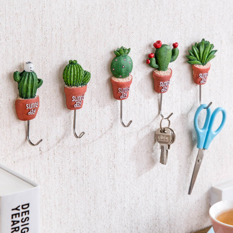 1 PC Plant Shape Door Hanger Clothes Hangers Kawaii Cactus Resin Stainless Steel Hook Magnetic Sundries S Hooks