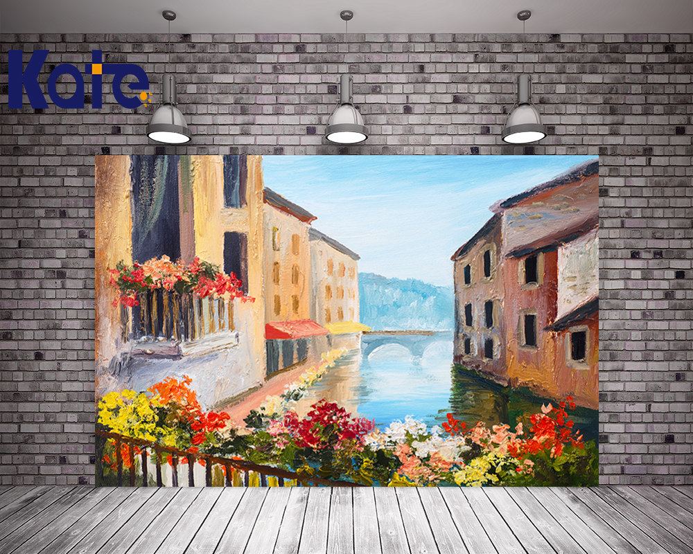 Kate Digital Printing Backdrops Blue Sky Brick House Colorful Flowers Fond Photographie Painting For Wedding Background blue sky чаша северный олень