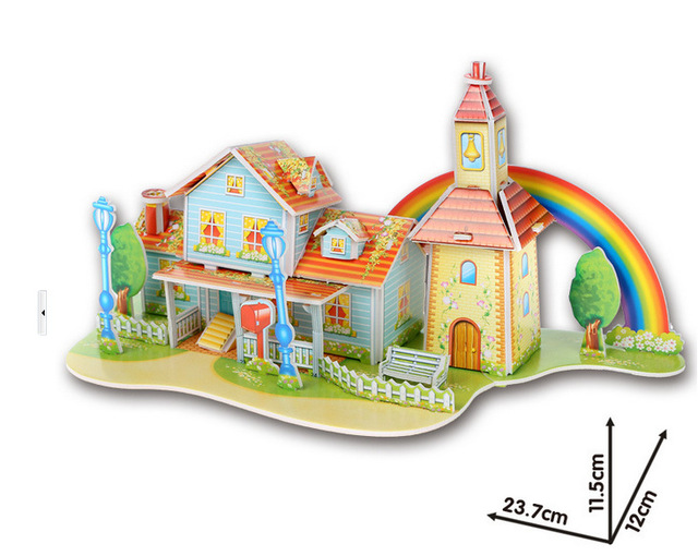 DIY Colorful 3D Puzzles for Children / 10 Styles