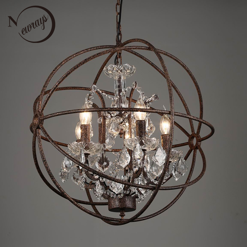 Retro vintage rust iron cage chandeliers E14 big style crystal chandelier lustre LED lamp Lighting for