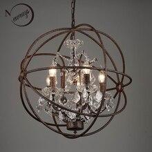 Ferrugem gaiola de ferro lustres E14 grande estilo Retro do vintage CONDUZIU a Iluminação da lâmpada do candelabro de cristal lustre para sala de estar quarto bar