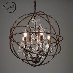 Image 1 - Ferrugem gaiola de ferro lustres E14 grande estilo Retro do vintage CONDUZIU a Iluminação da lâmpada do candelabro de cristal lustre para sala de estar quarto bar