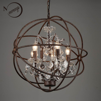 Retro vintage rust iron cage chandeliers E14 big style crystal chandelier lustre LED lamp Lighting for living room bedroom bar
