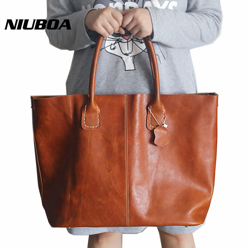Women Vintage Shoulder Bag Natural Cowhide Handbags Genuine Leather Top Quality Lady Casual Shopping Bags Large