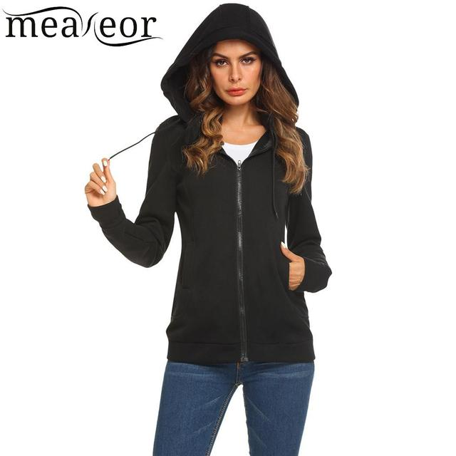 Meaneor Zip-up Casual Long Sleeve Solid Women Hoodie Warm Winter Autumn Coat Women Top Sweatshirts Fashion Women Hoodies Pullov