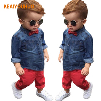 2016 New Spring Autumn Boys Gentleman Clothing Set Kids T Shirt Pants 2Pcs Set Kids Clothes