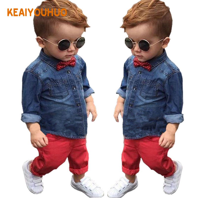2017 New spring autumn Boys Gentleman Clothing Set,Kids t-shirt+Pants 2Pcs set kids Clothes Suit,Baby Boys Clothes for 3-8Yrs kids clothing set plaid shirt with grey vest gentleman baby clothes with bow and casual pants 3pcs set for newborn clothes