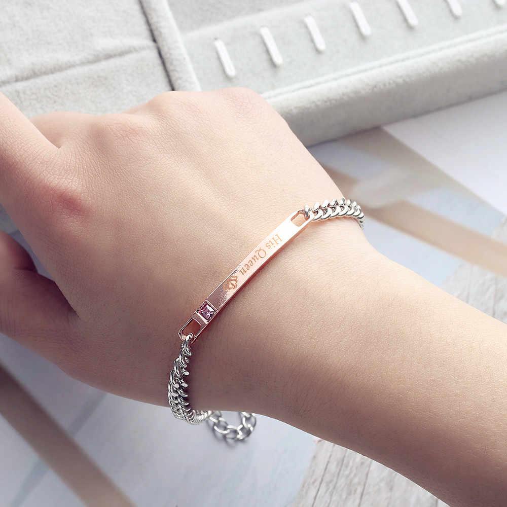 1 Pza/1 par de pulseras de pareja encantadoras de moda para hombres y mujeres su rey su Reina romántica corona de cristal de moda accesorios de la joyería de mano