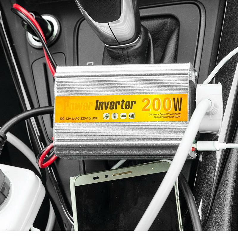 цена на 1 PC 200W Outlets Power Inverter DC 12V to AC 220V Car Adapter Laptop Smartphone T2