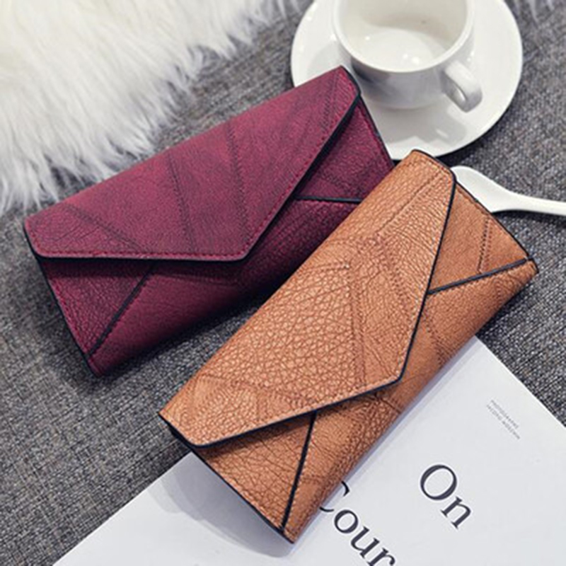 Vintage Style Wallet Women Pu Leather Matte Clutch Long Purse Wallet Card Handbags Multiple Colors Available