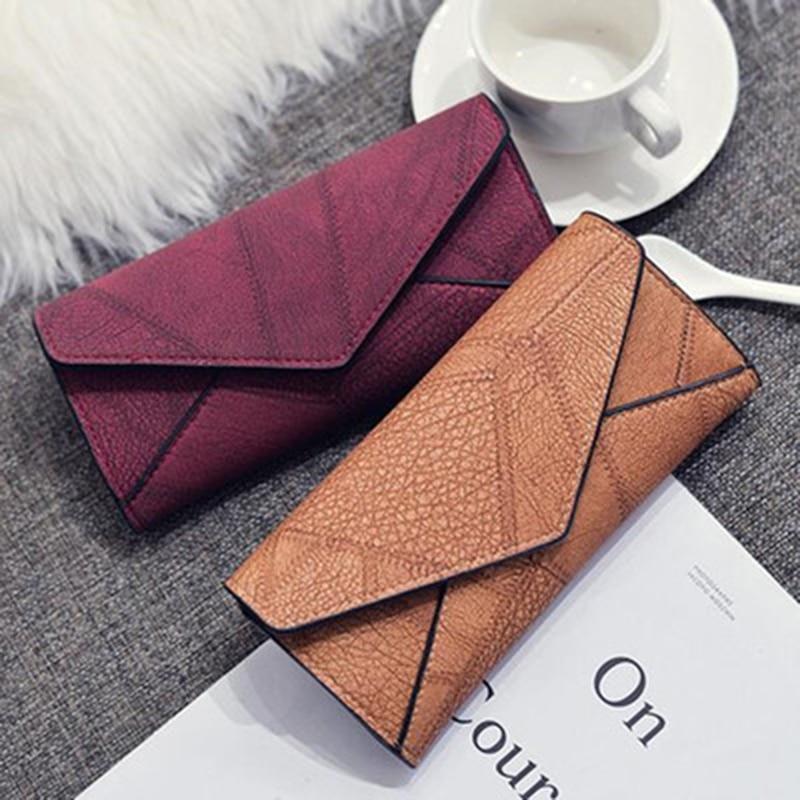 Vintage Style Wallet Women Pu Leather Matte Clutch Long Purse Wallet Card Handbags Multiple Colors Available