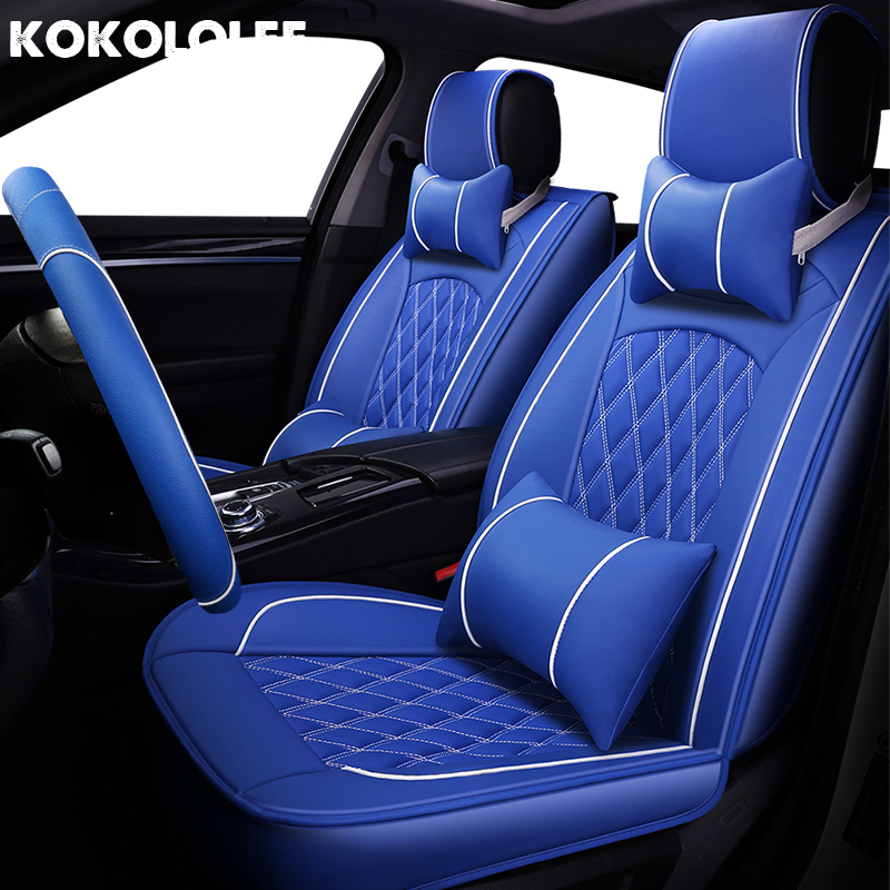 [KOKOLOLEE] pu leather Car Seat Covers for MINI MITSUBISHI Mustang NISSAN OPEL PEUGEOT Automobiles seat covers car seats protect