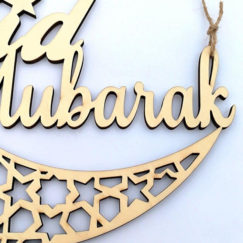 Ramadan Eid Mubarak Wooden Plaque Moon Islam Muslim Eid Mubarak Hanging Pendant Decoration For Home DIY Hollow Party Supplies  (3)