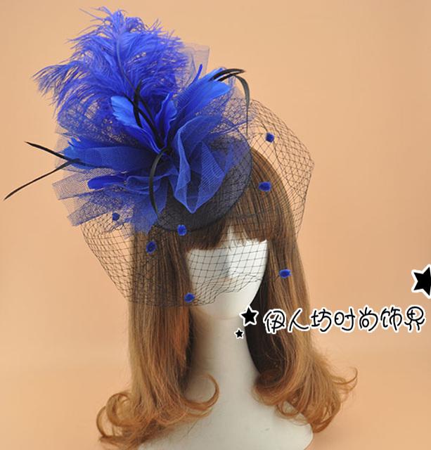 Exagerada de chapéus grande flor pena Fascinators cabelo para casamentos véus de noiva gaiola véu Fascinators