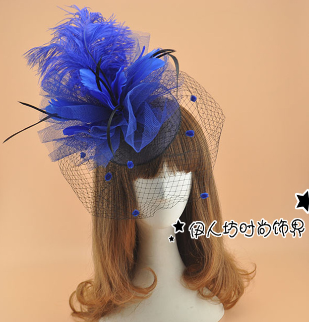 Exaggerated Bridal Hats Large Feather Flower Hair Fascinators For Weddings Veils Wedding Bridal Birdcage Veil Fascinators
