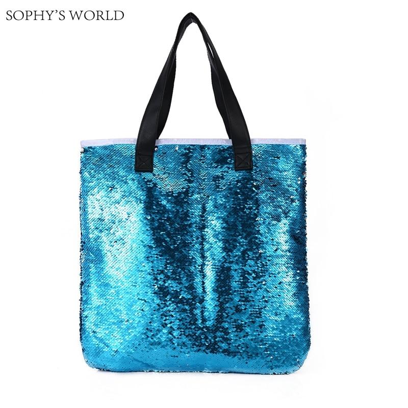 Luxury handbags women bags designer fashion sequins open bag leather strap women shoulder bags large size tote shopper bag