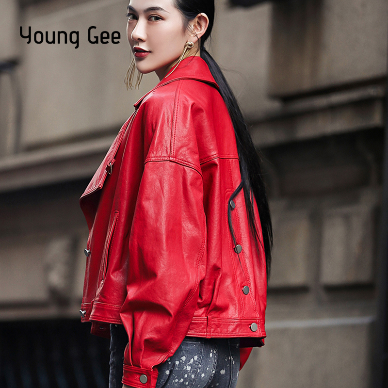 Young Gee Spring Autumn PU   Leather   Jacket Faux   Leather   New Design Coat Slim Black Red Buttons Motorcycle Jackets chaqueta mujer