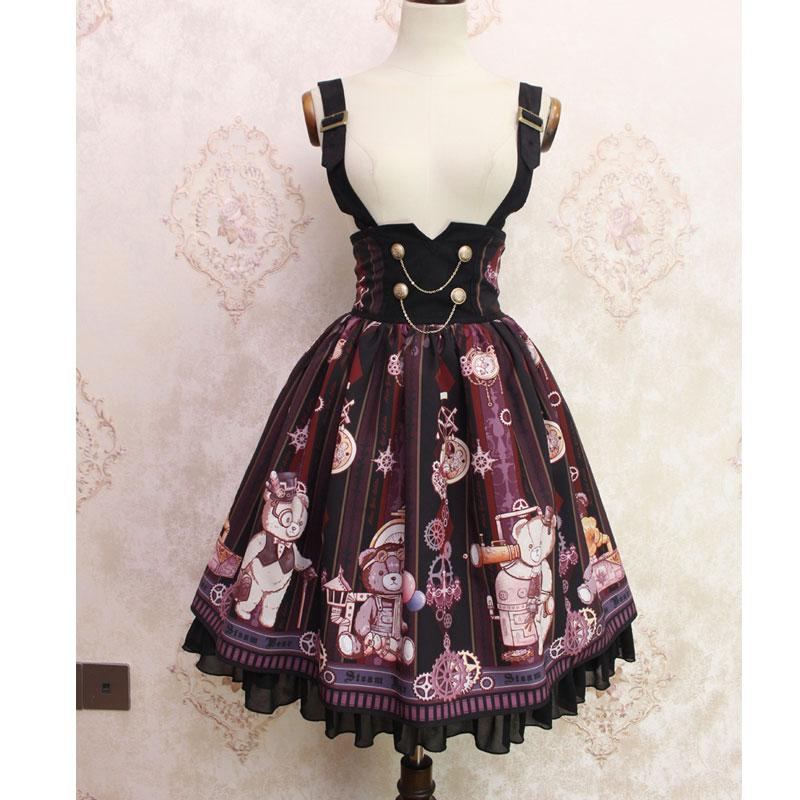 Steampunk Gear ~ Sweet Gear Printed Lolita Casual Suspender High Waist Skirt by Alice Girl~ Pre-order