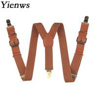 Yienws/Детские подтяжки для мальчиков в винтажном стиле коричневого цвета с 3 зажимами на кнопках, подтяжки для штанов, стильные кожаные подтяжки для девочек, черный Bretele YiA019